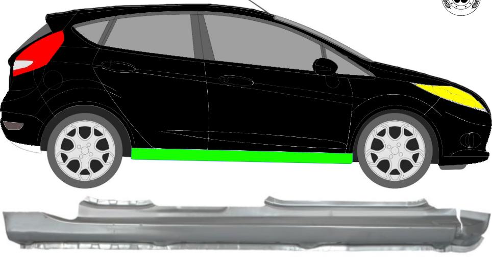 Voll Schweller Reparaturblech / Rechts für Ford Fiesta 2008-2017 5 Tür