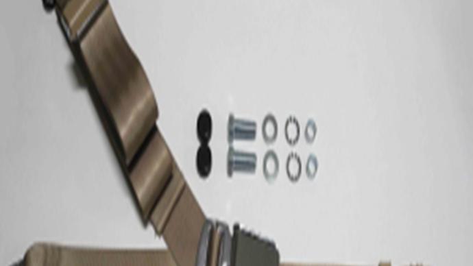 Chrom-Retro Dreipunkt Statikgurt mit beigem Gurtband passend für W108 / W109