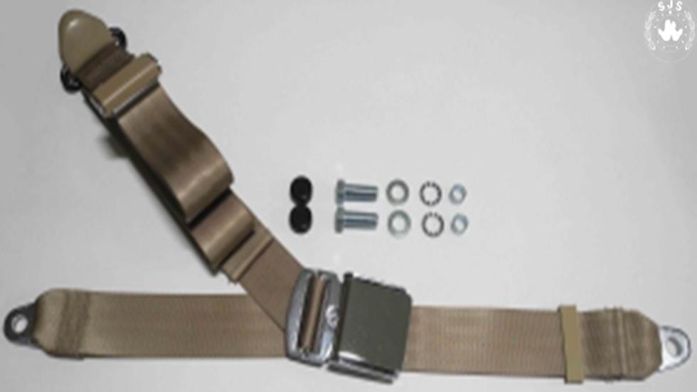 Chrom-Retro Dreipunkt Statikgurt mit beigem Gurtband für Mercedes W113 Pagode