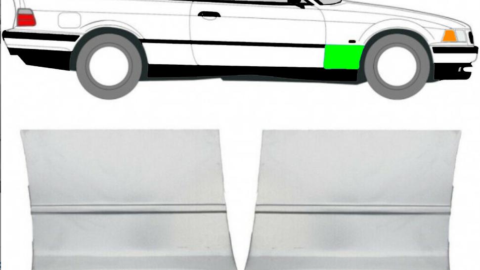 Vorne Kotflügel Reparaturblech / Paar für BMW 3er E36 Coupe 1992-1999
