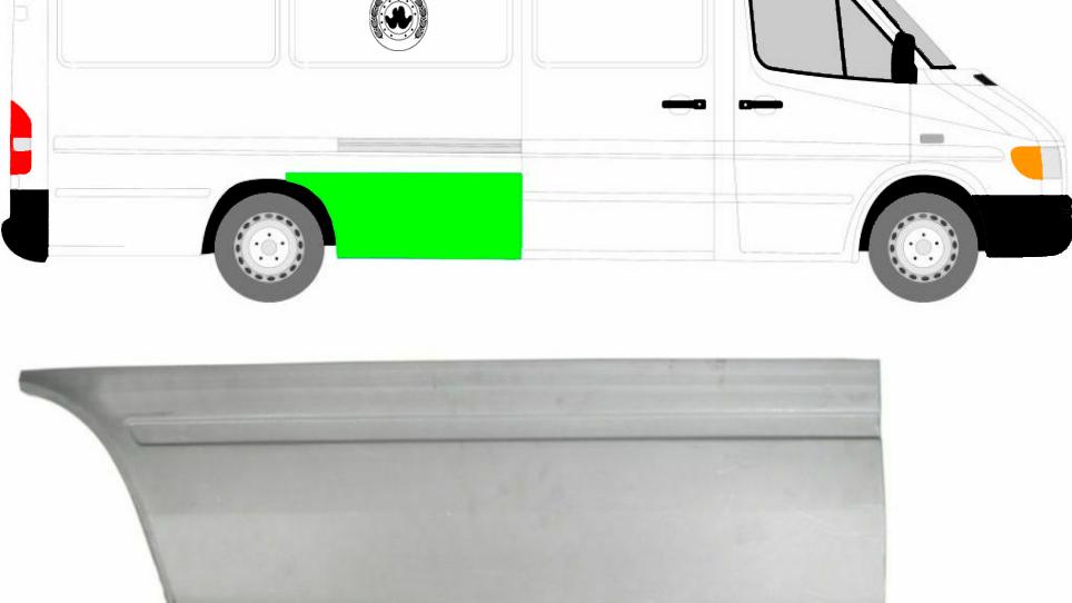 Hinten Reparaturblech Kotflügel / rechts für Mercedes Sprinter VW LT 95-06 Lang
