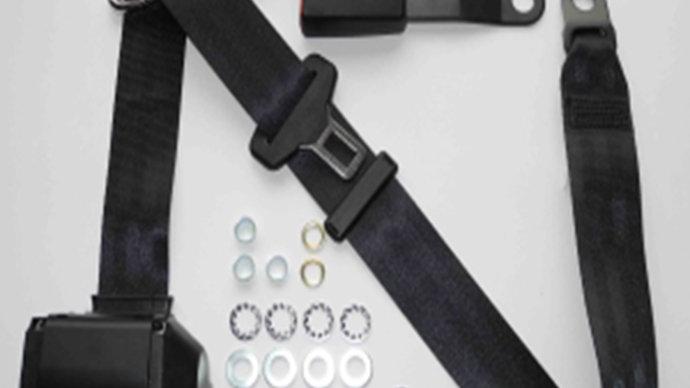 Dreipunkt Automatik Sicherheitsgurt,schwarz,15cm Laschenschloss für W123