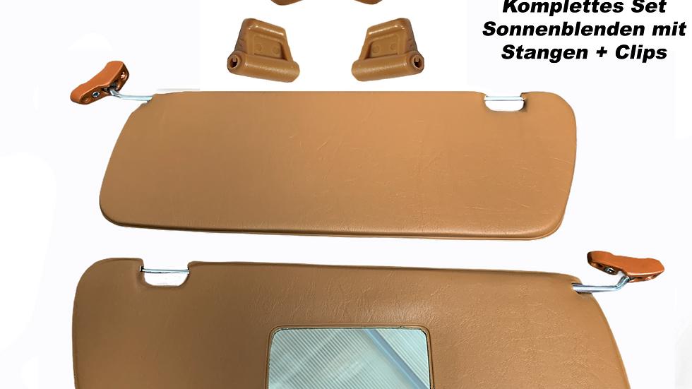 Sonnenblenden Sunvisor Paar mit Stangen + Clips für Mercedes SL 107 R107 kamel