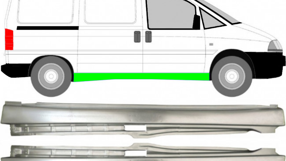 Schweller Reparaturblech /Paar für Fiat Scudo Peugeot Expert Citroen Jumpy 07-