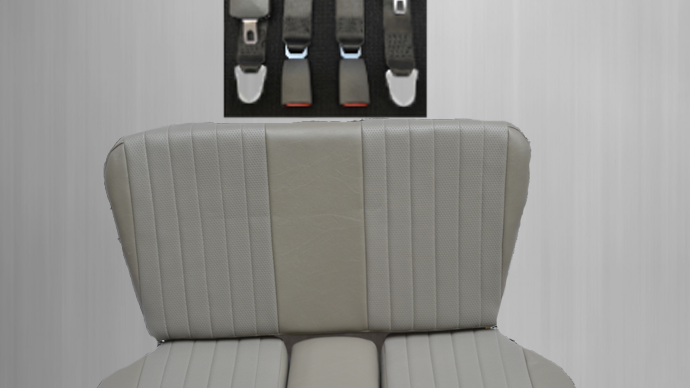 Rear seat emergency seat child seat Mercedes SL R / W107, gray + seat belt