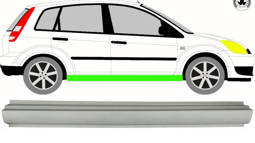 1x Schweller Reparaturblech / Rechts = Links für Ford Fiesta 2002-2008 3/5 Tür