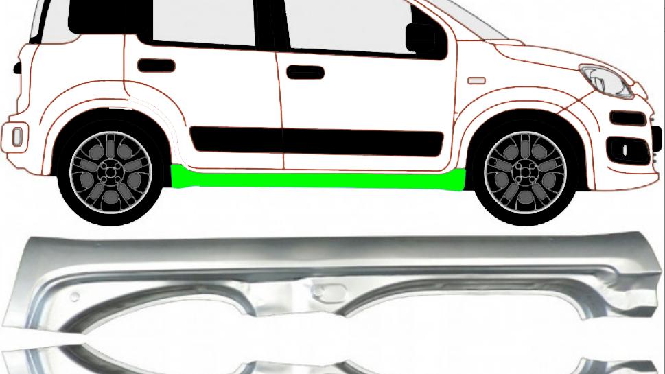 Voll Schweller Reparaturblech / Rechts und Links / Paar für Fiat Panda 2012-