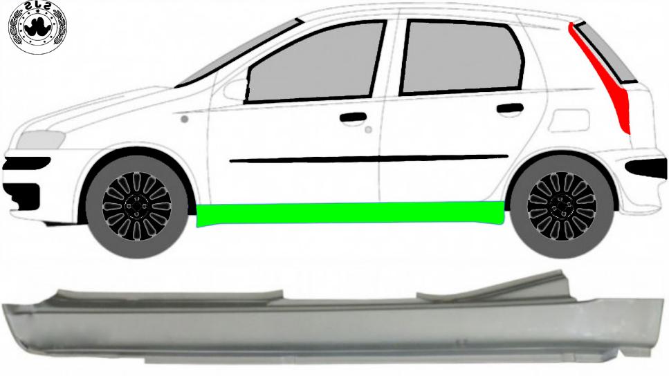 Voll Schweller Reparaturblech / Links für Fiat Punto 2 1999-2010 5 Tür