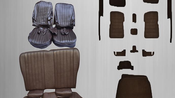 Sitzbezüge + Rückbank klappbar + Teppichsatz ,braun Paket für Mercedes SL R/W107