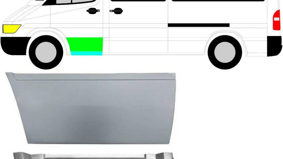 2x Vorne Tür Reparaturblech / Satz / Links für Mercedes Sprinter VW LT 95-06