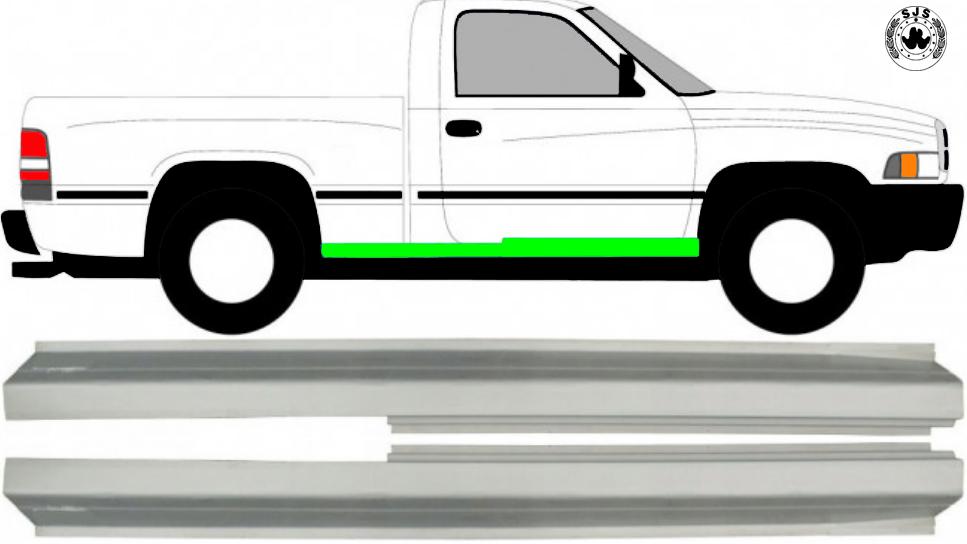 2 Tür Schweller Reparaturblech / Paar für Dodge Ram 1993-2002