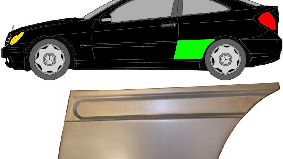 Hinten Kotflügel Reparaturblech / links für Mercedes C-Klasse CL203 2000-2008