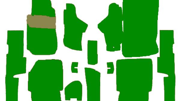 Teppichsatz für Mercedes W123 Coupe grün 15 Teilig Kunstleder verziert