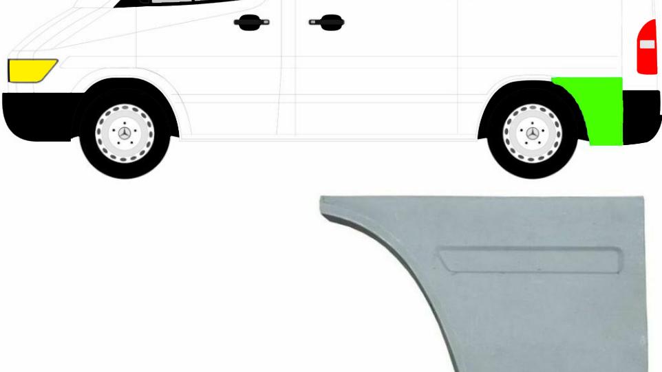Hinten Kotflügel Reparaturblech / Links für Mercedes Sprinter VW LT 95-06 Kurz