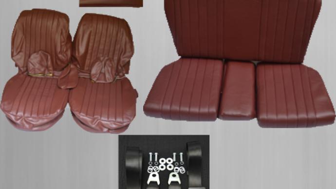 Sitzbezüge + Rückbank + Sicherheitsgurte, dunkelrot für Mercedes SL R/W107
