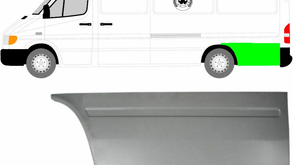 Hinten Reparaturblech Kotflügel / Links für Mercedes Sprinter VW LT 95-06 Lang