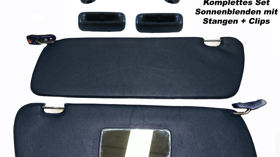 Sonnenblenden Sunvisor Paar mit Stangen + Clips für Mercedes SL 107 R107 blau