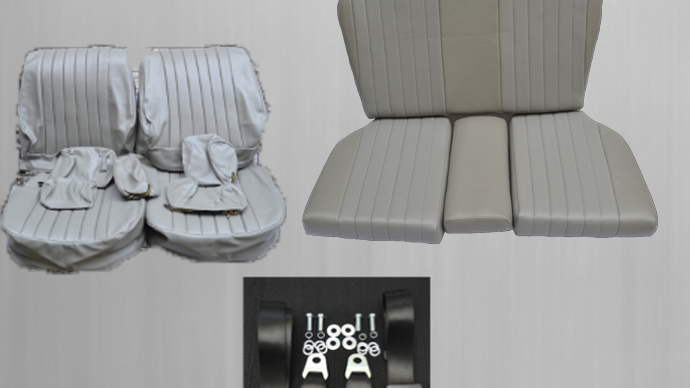 Mercedes SL R / W107 seat covers + rear seat + seat belts, gray package