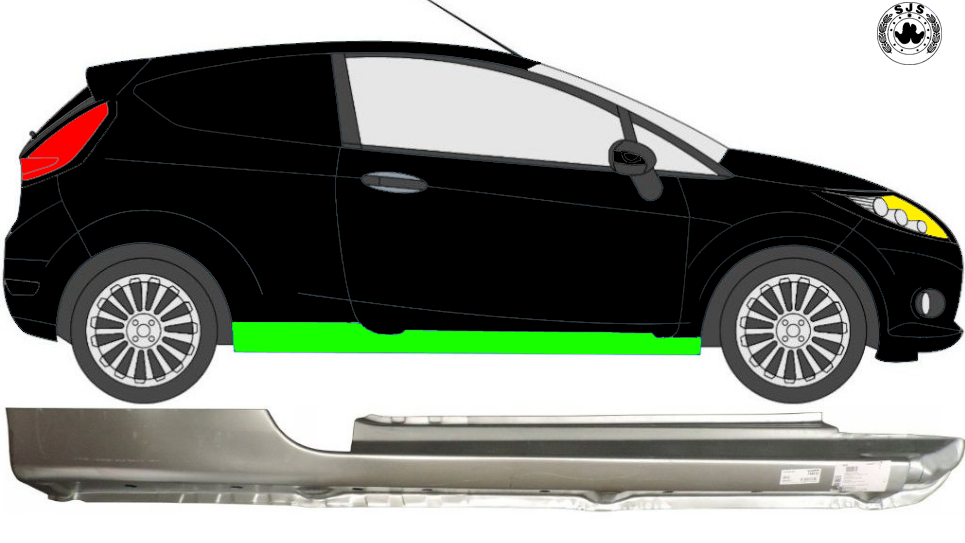 Voll Schweller Reparaturblech / Rechts für Ford Fiesta 2008-2017 3 Tür