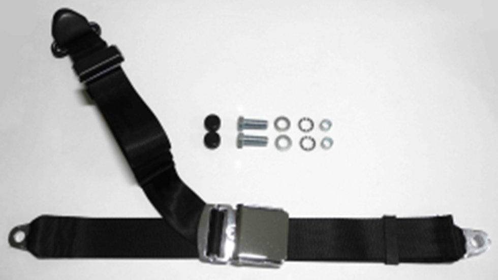 Chrom-Retro Dreipunkt Statikgurt mit schwarzem Gurtband für Mercedes W113 Pagode