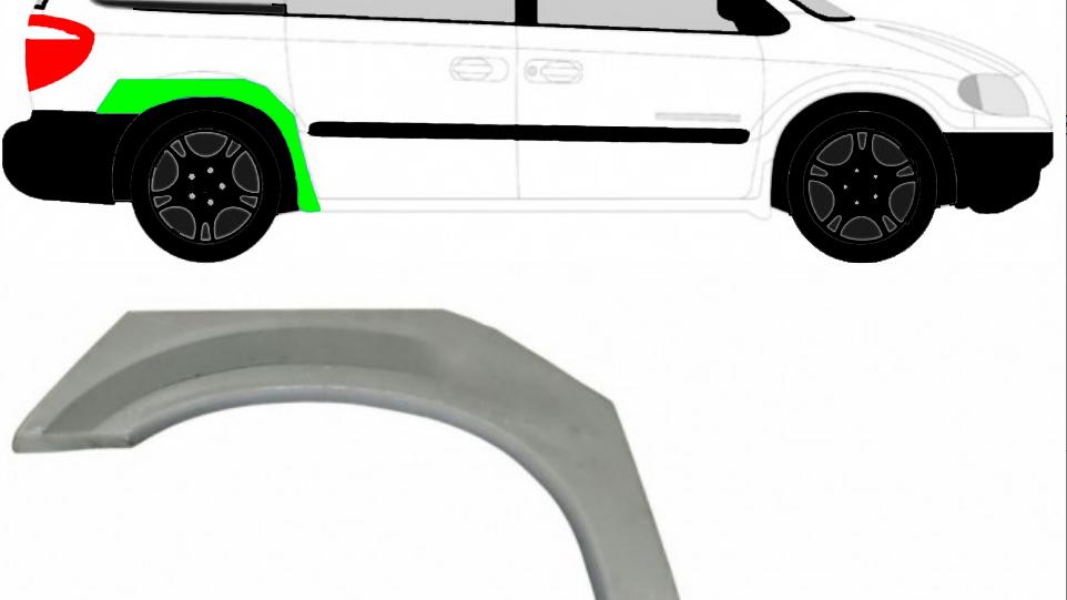 Radlauf Reparaturblech Kotflügel Rechts für Chrysler Voyager Dodge Caravan 00-08