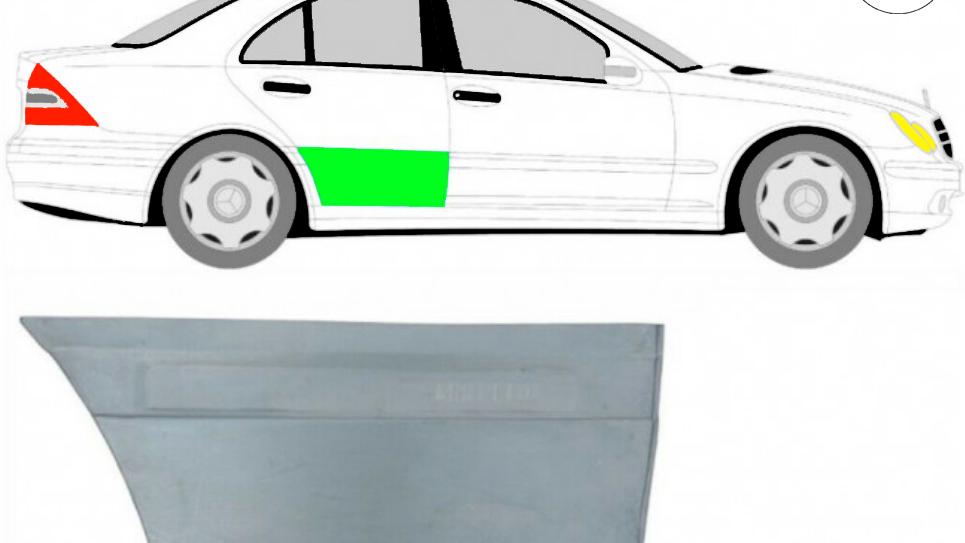 Hintere Tür Reparaturblech / Rechts für Mercedes C-Klasse W203 2000-2007