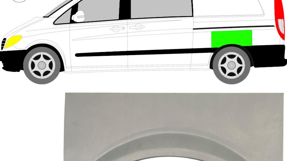 Hinten Kotflügel Reparaturblech / Links für Mercedes Vito Viano W639 2003-2010
