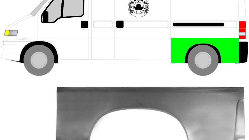 Hinterradkastenverkleidung / Links Reparaturblech für Fiat Ducato 94-06
