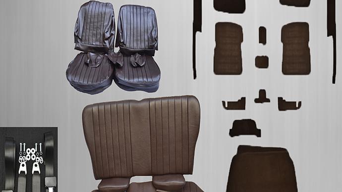 Sitzbezüge+Rückbank klappbar+ Teppich + Gurte, braun Paket für SL R/W107