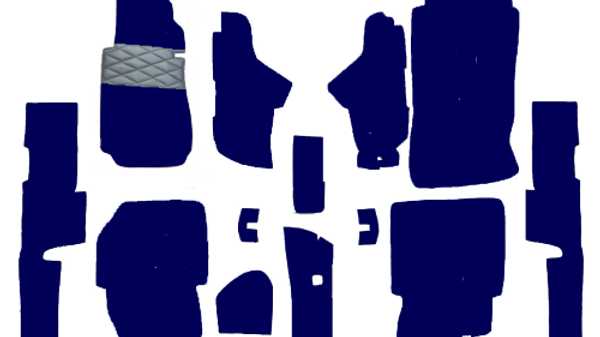 Teppichsatz für Mercedes W123 Limousine blau 17 Teilig Kunstleder verziert