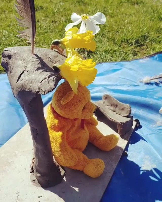 Today we made a little house for pooh be