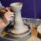 handmade pottery being made during  pottery lesson in bat