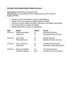 Startlijst dressuur HTC Zomer IJkmoment