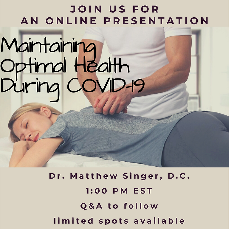 Maintaining Optimal Health during COVID-19