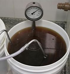 Chiller sendo usado dentro do balde para resfriar o mosto