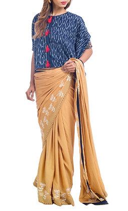 Mustard floral motif sari with indigo ikkat kaftan style blouse