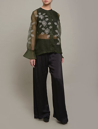 Floral embroidery sheer shirt