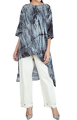 Hand tied shibori asymmetric set