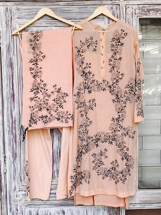 Floral scribble kurta set