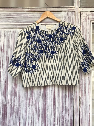 Embroidered Ikkat Blouse