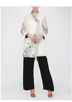 Thread embroidery overlap shirt
