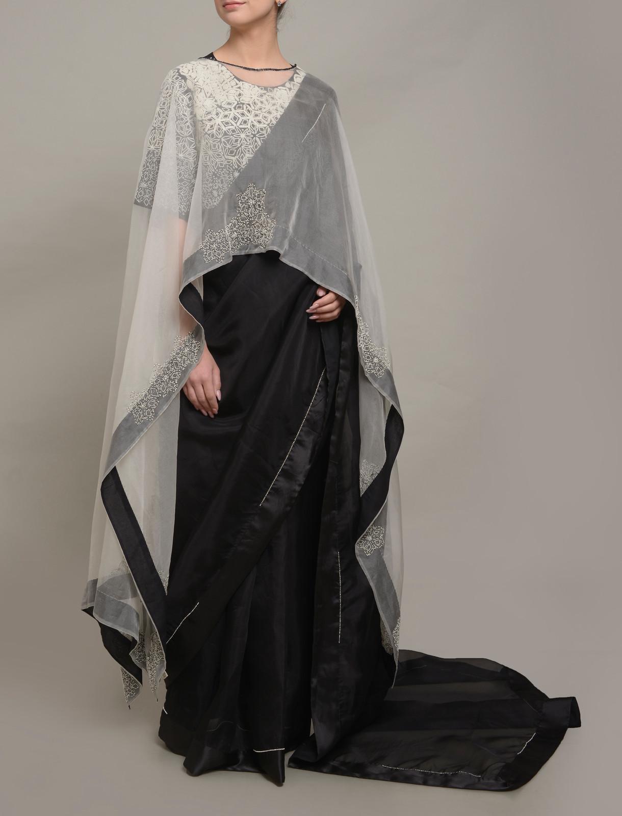 471a02d26d Black moti embellished sari set with an embellished organza layer