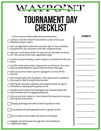 Tournament Day Checklist