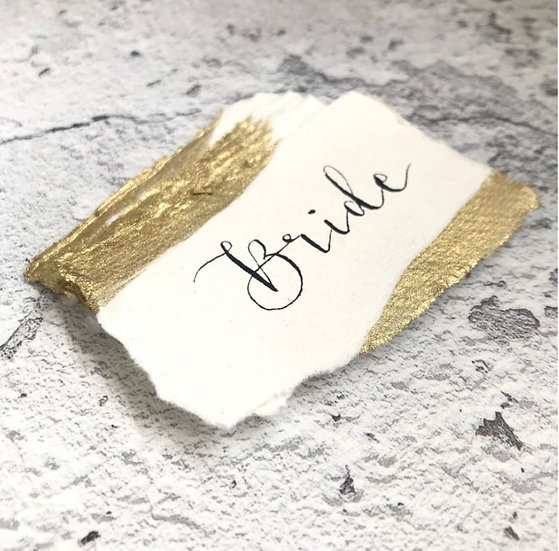Wedding Place Cards on Handmade Paper with Gilded Edges
