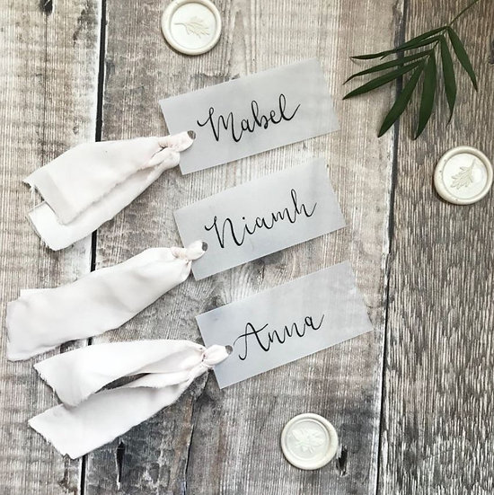 Wedding Place Cards on Vellum