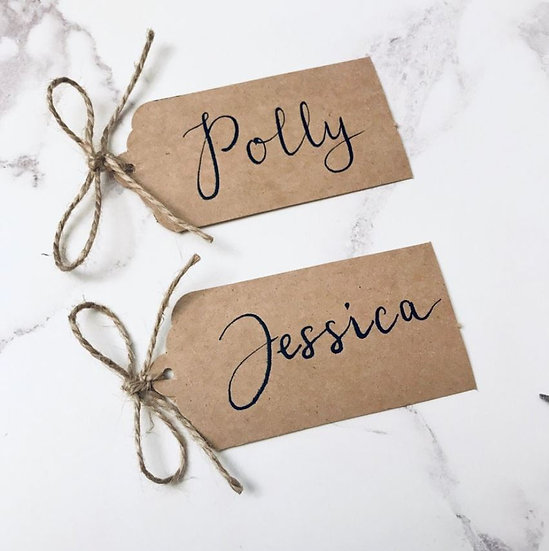 Handwritten Luggage Tag Place Cards