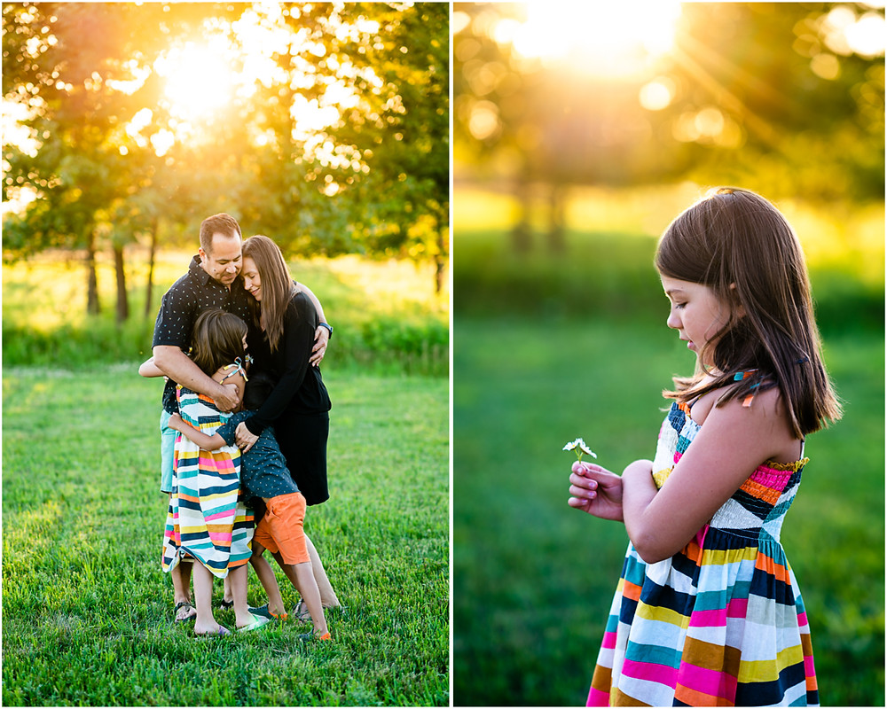 A family is hugging eachother at golden hour