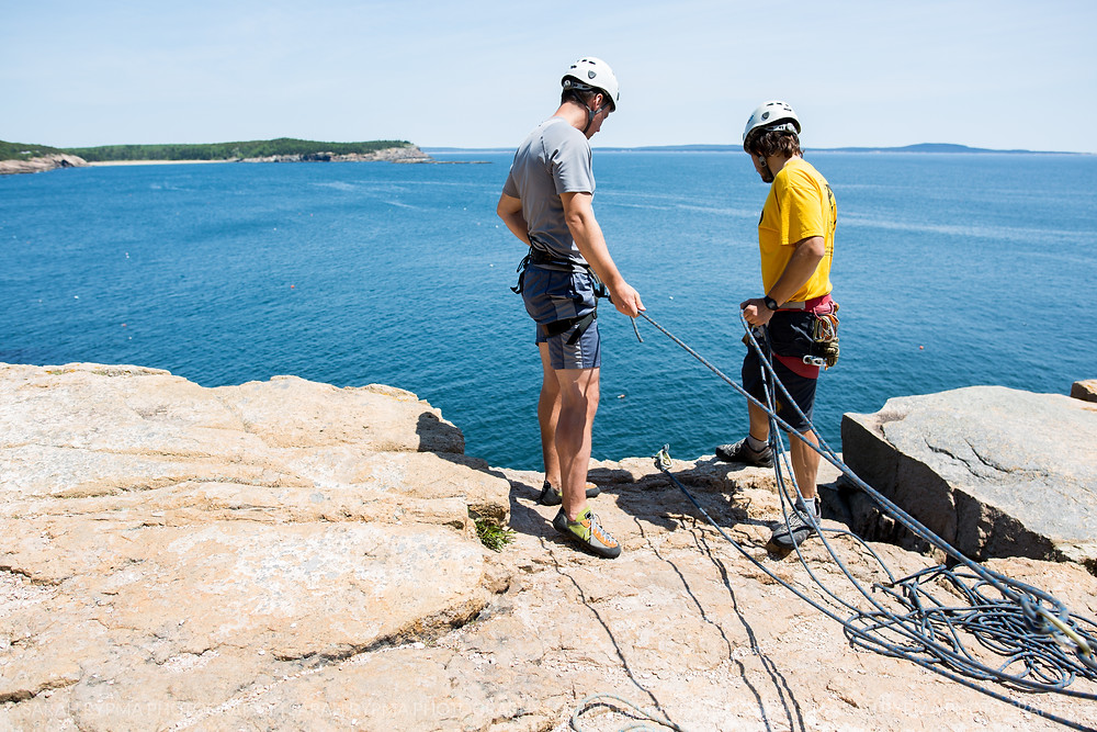Two Men Rock Climbing in Acadia National Park