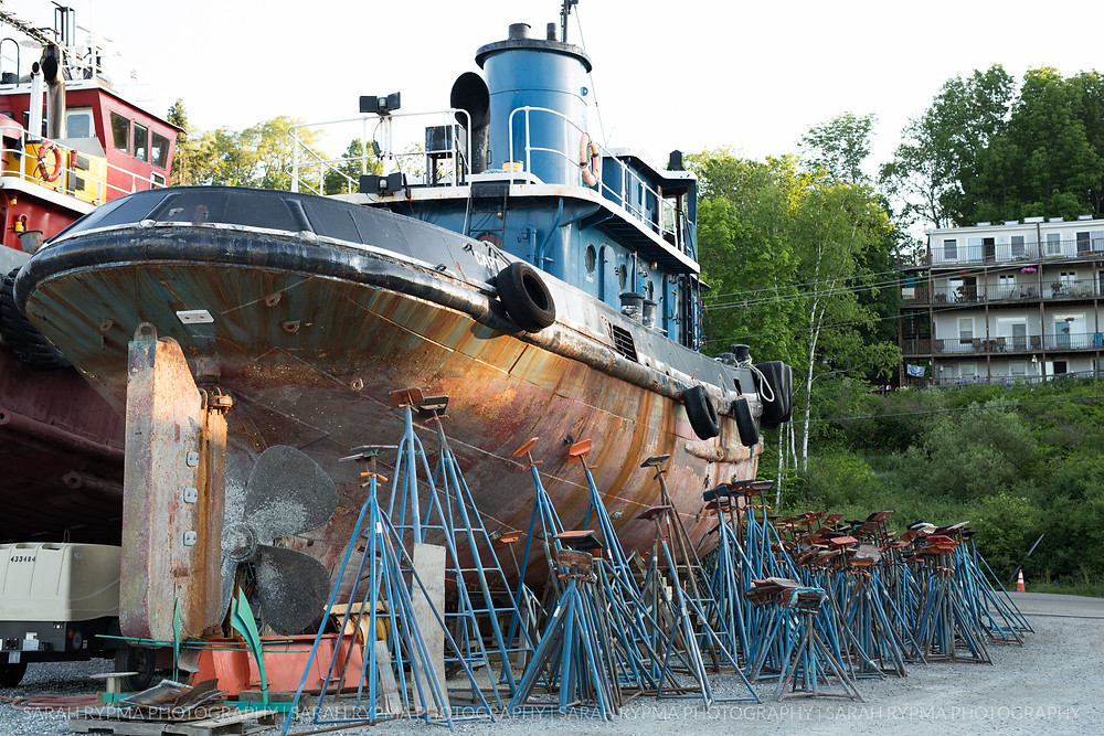 Tugboat being repaired in Belfast, Maine