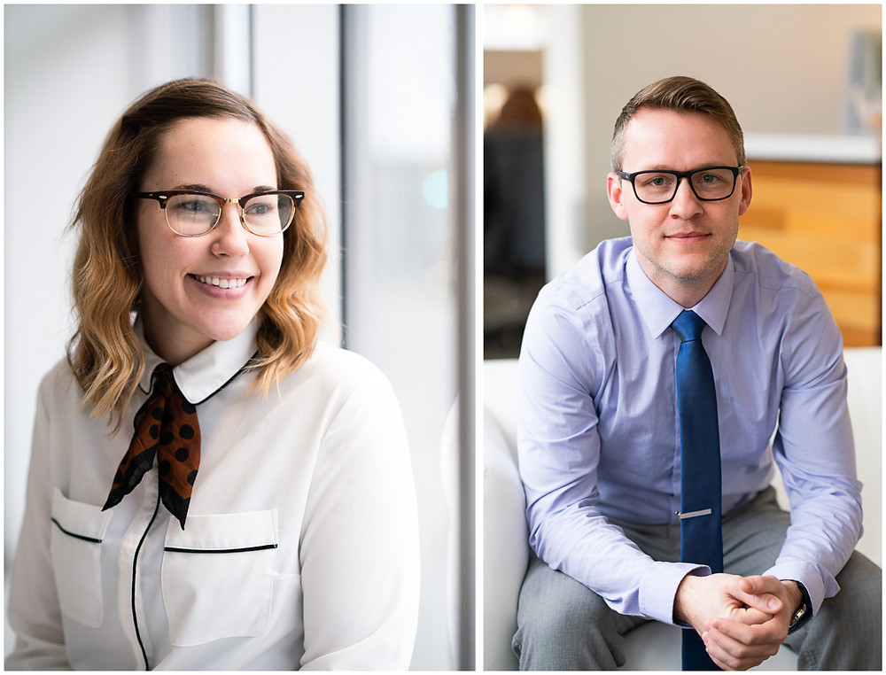 Young professionals wearing glasses for their professional headshots